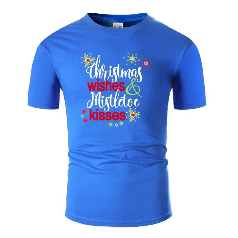 Diseño a medida de los deseos del navidad muérdago Besos de Navidad del partido de la camiseta de algodón hombre de Harajuku de los hombres de las camisetas 2020
