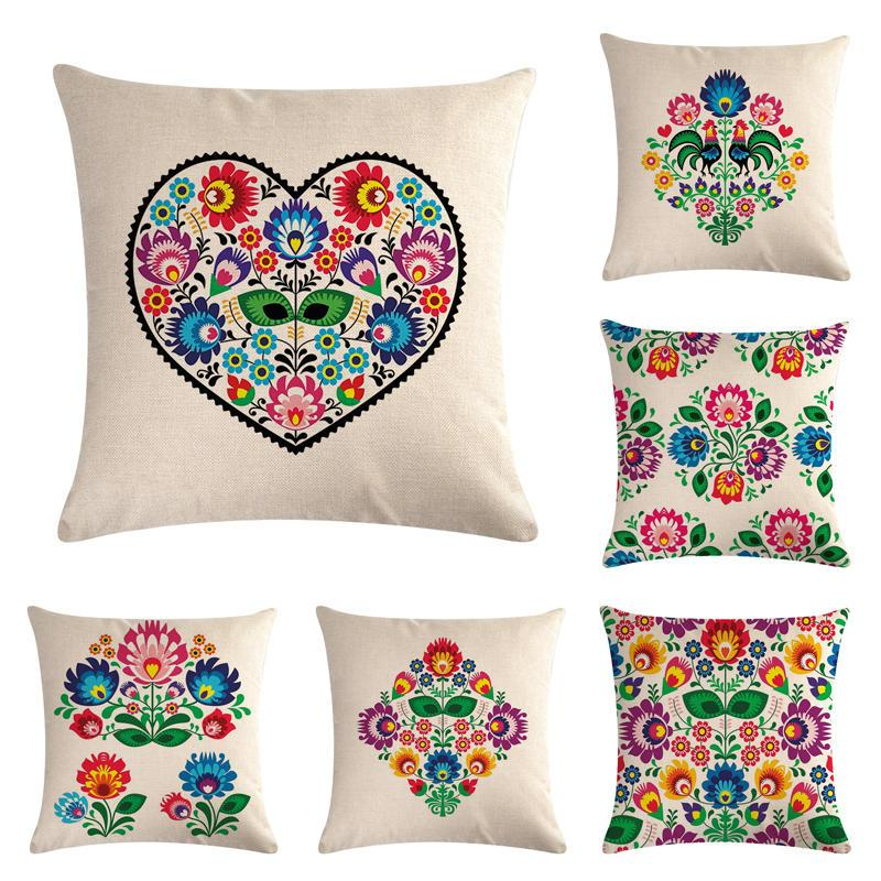 45cm 45cm Hand Painted Colored Flowers Pattern Linen Cotton Throw Pillow Covers Couch Cushion Cover Home Decorative Pillows Replacement Outdoor Cushion Covers Outside Seat Cushions From Angorabest 24 79 Dhgate Com