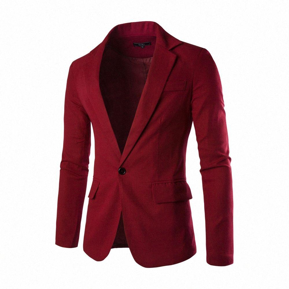 2016 Hot Venda Nova Roupa do tipo Primavera One Button Homens Blazer Slim Fit Costume Homme paletó masculino Blazer 8 Cor lTKK #