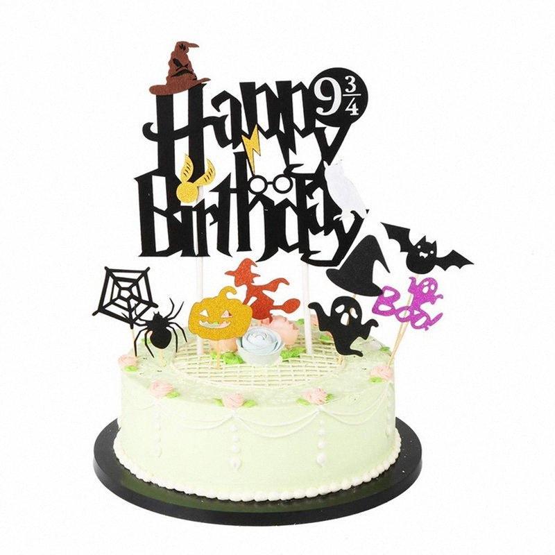 Joyeux anniversaire de gâteau Thème Halloween gâteau d'anniversaire de petit gâteau Toppers Décoration Drapeaux papier pour Party Unicom Dcor 6var #