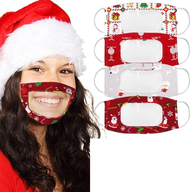 Weihnachten Lippen Sprache Transparent Masken Weihnachten Cartoon-Druck Klare Gesichtsmaske Erwachsene Visible Deaf Earloop Designer Mask T500261