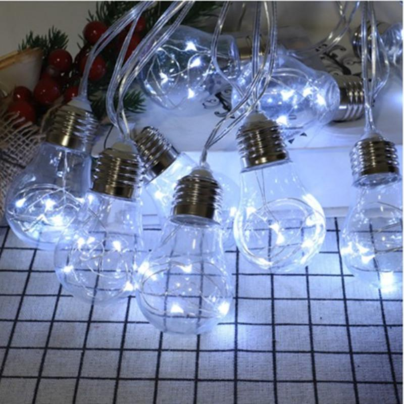 10LED Klare LED-Lampen Solar-LED-Schnur-Licht im Freien verzierten Vintage-Hinterhof Terrasse Ferienwasserdicht Hanging Garden Light