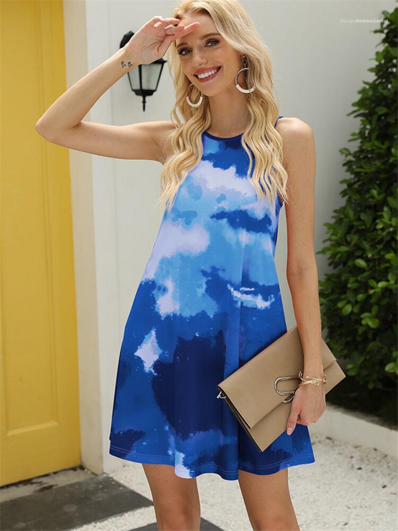 Boyun Kadın Desinger KISA Kolsuz Casual A Hattı Elbiseler Kadın Kontrast Renk Giysiler Tie Boyalı Patchwork Mini Elbiseler Ç