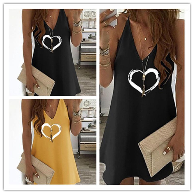 Robes d'été col en V manches en vrac femmes Designer Robes Spaghetti Strap Couleur unie Mini robes coeur Imprimer Femmes