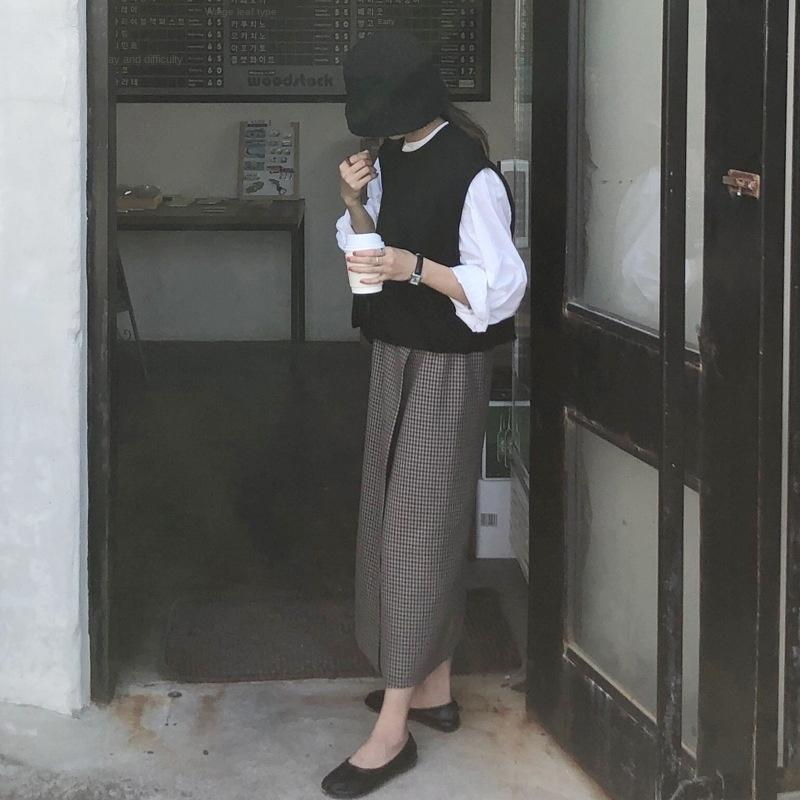 PJvDy Nantao falda de 2020 a cuadros a cuadros nuevos MY38 falda de la cadera de longitud media de una sola pieza recta larga de las mujeres largas de la primavera
