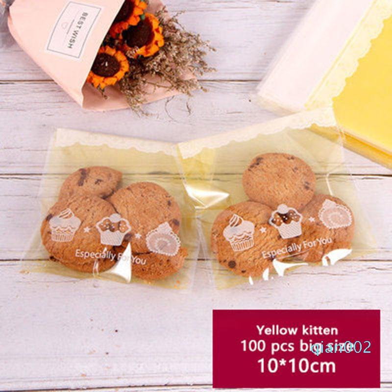 100pcs Self Adhesive Embalagem Bag fosco Fundo amarelo Saco do presente transparente bonito da festa de aniversário Biscuits Soap bolo