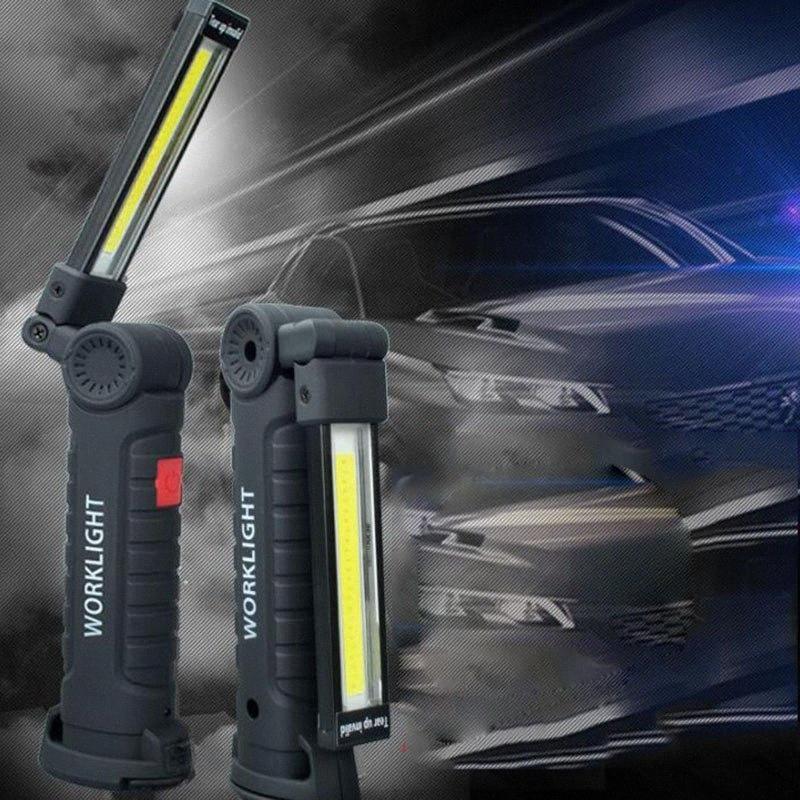 Leistungsstarke USB aufladbare LED-Arbeits-Blitz-Licht-COB-Fackel-Lampe Tragbare Magnet Lanterna hängend für Outdoor-Camping vUqu #