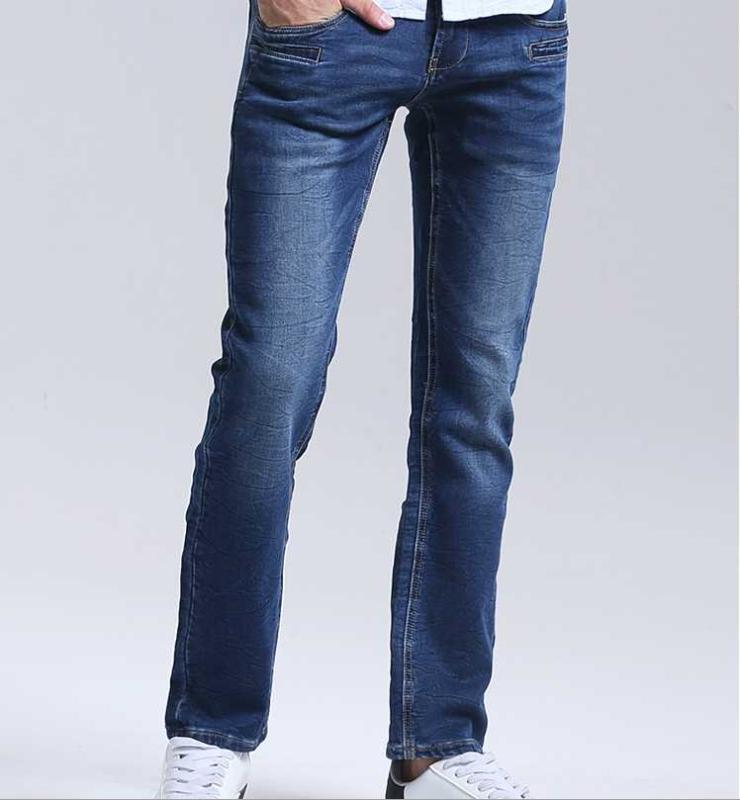 Confortáveis outono 2020 de malha jeans reta pele-friendly calças moda masculina