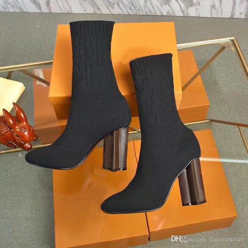 الخريف الشتاء الجوارب الكعب كعب أحذية الأزياء مثير محبوك مرونة التمهيد مصمم الأبجدية النساء الأحذية سيدة رسالة سميكة عالية الكعب حجم كبير 35-40--42 US4-US7 - US 11