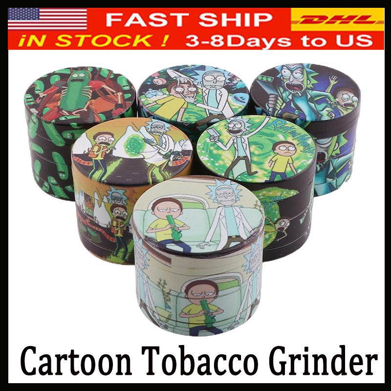 Newest Design Herb Grinder Cartoon Grinders Zinc Alloy 4 Layers 40/50mm Tobacco Crusher for Dry Herb Metal Grinders DHL Fast Shipping