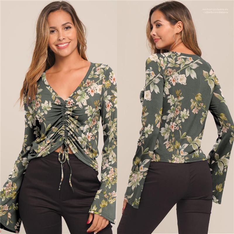 Femmes T-shirts Femmes Vêtements décontractés imprimé floral pour femmes Designer T-shirts sexy col V Flare manches lambrissé avec cordon de serrage
