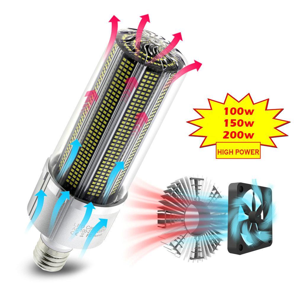 High Power E27 светодиодные лампы 100W 150W 200W Super Bright 2835 Corn лампы 110V 220V E39 / E40 светодиодные лампы Сложение в вентилятор охлаждения для склада