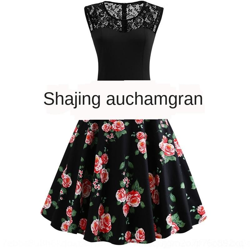 Zk3Xr Lace Stitching schwarzer Rock gedruckt flauschiges Kleid Kleid ungepflegt Fluffy Pengpeng Rock ärmelPfingstRose
