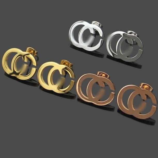 Nova Chegada Design Clássico Brincos de Alta Qualidade 3 Cores Ear Brincos De Aço Inoxidável Para As Mulheres Hoop Fashion Jewelry Atacado
