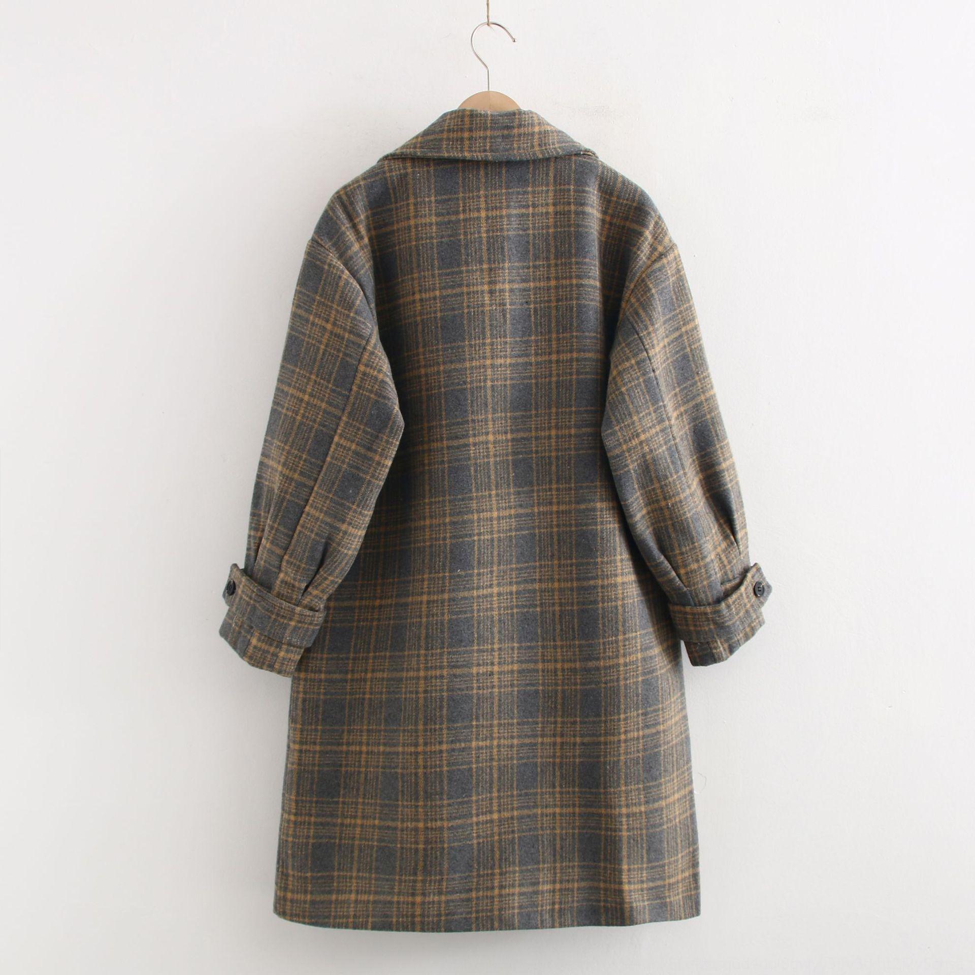 BLf9r X0014 coreano 2019 vestiti a due tasca l'autunno e l'inverno Cappotto lana della Nuova grande risvolto doppio petto cappotto di lana delle donne plaid