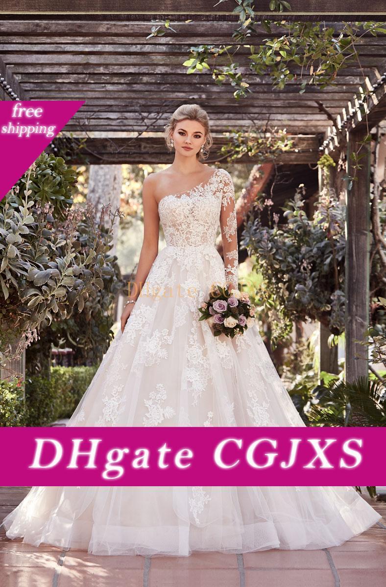 Una spalla Abiti da sposa 2019 Abito A Lineillusion manica da sposa in pizzo asimmetrico Abiti da sposa Vestido De Novia