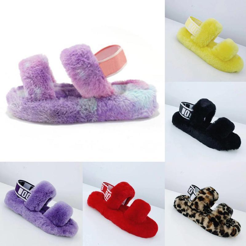 Nuevas cuñas pelusa pelusa oh sí diapositivas zapatillas sandalias de piel con zapatos de mujer peludos mullidas zapatillas elástica plataforma zapatillas de unión pantouf JjdR #