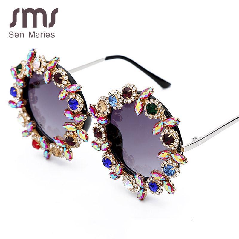 Lunettes de soleil Mode rond Cristal Femmes colorées Cadre en métal de diamant de haute qualité lunettes de soleil pour hommes femelle UV400