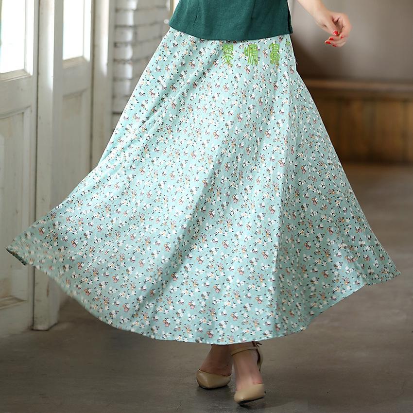 heiv3 printemps 2019 femmes et été nouveau coton uni et lin taille haute plissé grande robe bohème artistique « S swing Nouvelle robe d'été b