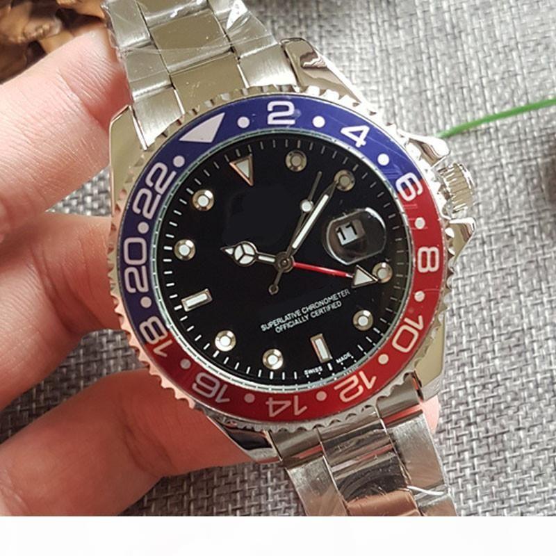 Hot vente de montres de luxe 40mm hommes GMT Montres mens boîtier en acier inoxydable mode classique orologio montres-bracelets de luxe