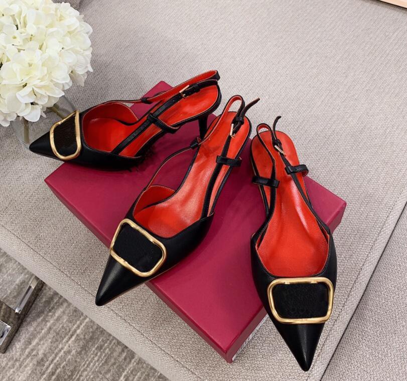 الأحذية من العلامة التجارية إمرأة عال كعب الصندل المعادن V مشبك اصبع القدم رقيقة كعب الأحذية الجلدية حقيقية النساء زفاف 35-43، لها غبار حقيبة