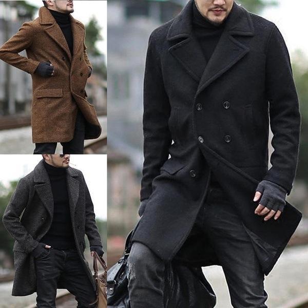 YvwGe hiver 2019 nouveau coupe-vent manteau de laine laine mode double boutonnage affaires décontractée mi-longs revers windbrea classique manteau de laine hommes