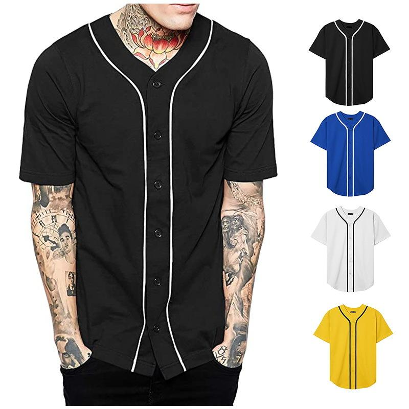 Toptan Özel Blank Beyzbol Tişörtlü Beyzbol Formalar Boş Baskı Özelleştirilmiş Hip-hop Casual Düğme Tshirts Y200824