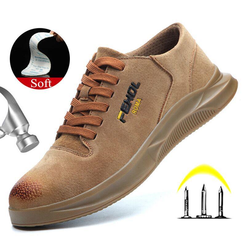 Sapatos Yadibeiba respirável segurança do trabalho para homens Anti-derrapante Couro Calçados de protecção no trabalho calçado de segurança industrial Botas 200916