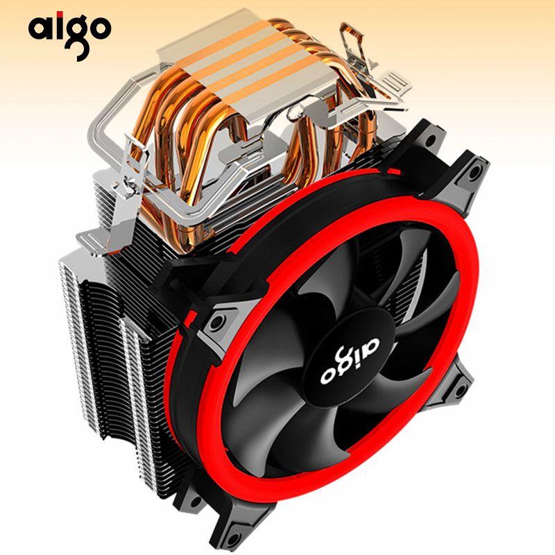 Aigo E4 ПК процессора Вентилятор охлаждения Cooler 4 Тепловые трубки CPU Cooler Вентилятор радиатора алюминиевый радиатор для LGA775 / 1155/1156/1366 / AMD