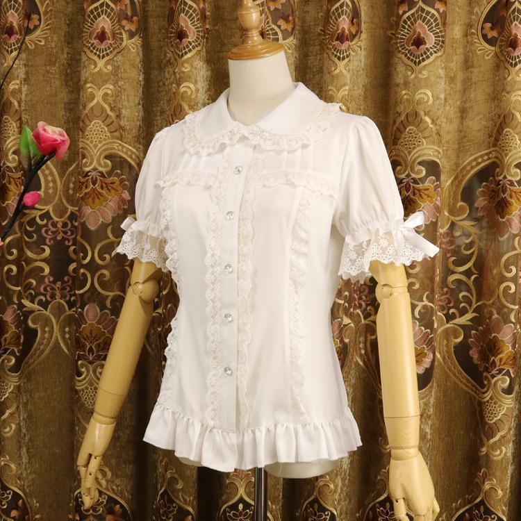 Ladies Short Sleeve Chiffon Blouse White/Black Lolita Button Down Shirt with Detachable Sleeves Y200828