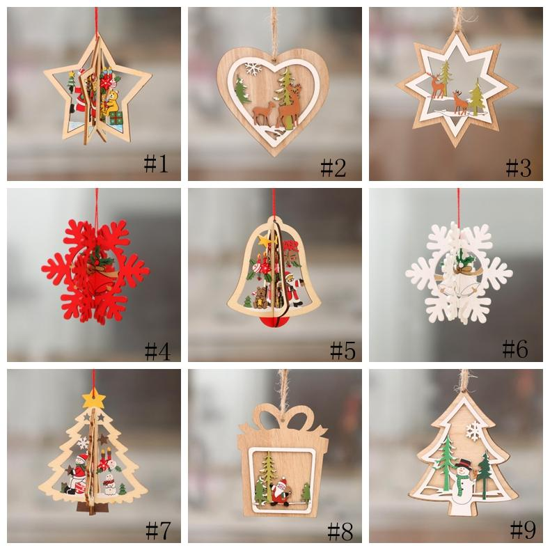 2D 3D Christmas Wooden Hanging Pendants hollow out Star Xmas Tree Bell Christmas Ornament Home Party Decorations SEA SHIPPING GGA3679