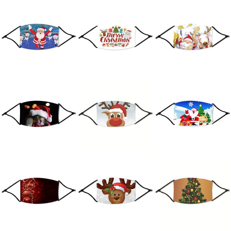 Hot unisexe enfants visage de Noël Masque Cartoon coton imprimé crème solaire anti-poussière respirante bouche Masques de Noël rayé Lion Fox XHH9-303 # 626