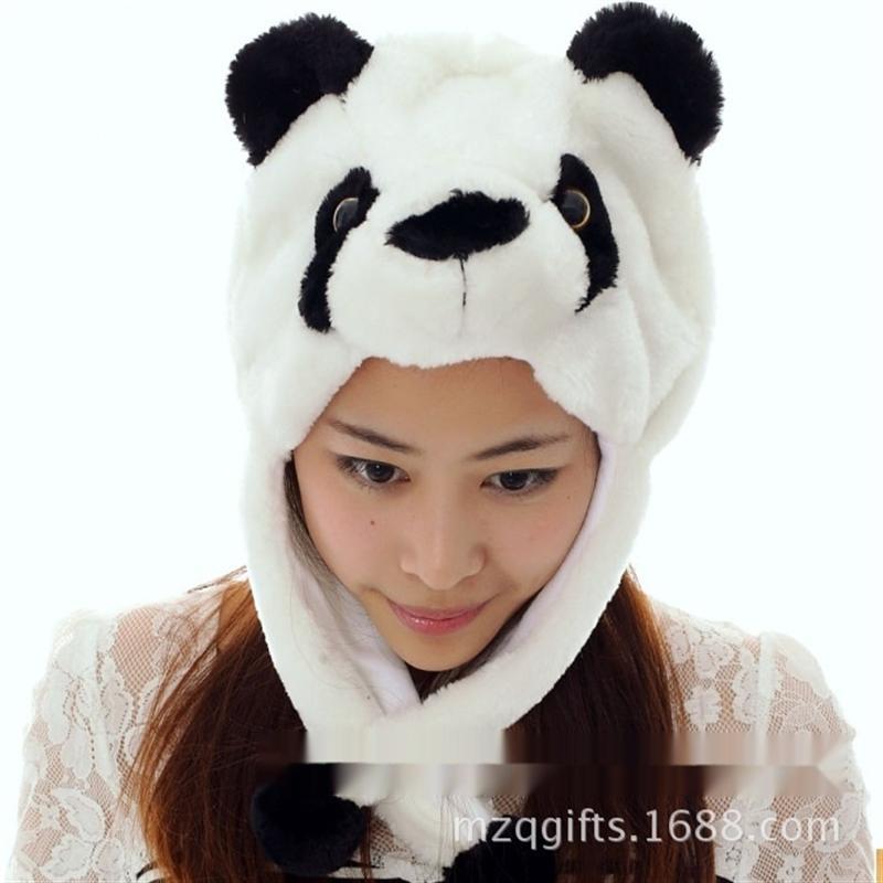 Z4DSi Short Giftanimal cartoon Christmas thickened Short panda Warm gift Giftanimal cartoon panda hat Christmas gift thickened warm hat