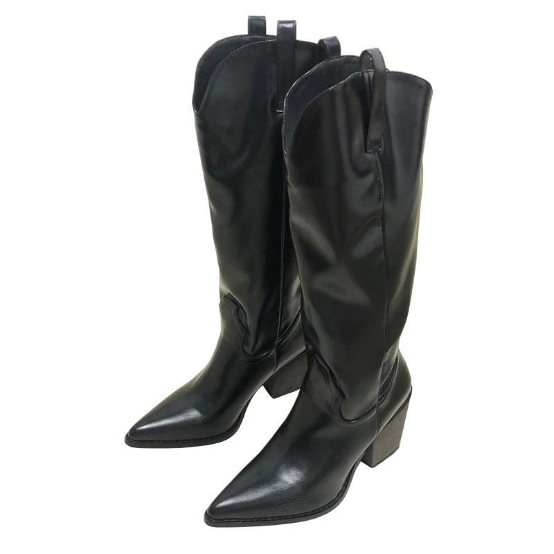Tacchi Nero Bianco Slip-On occidentale Stivali Donne Zapatos De Mujer punta aguzza Retro donna dei pattini Chunky Cowboy Calf Boots Female