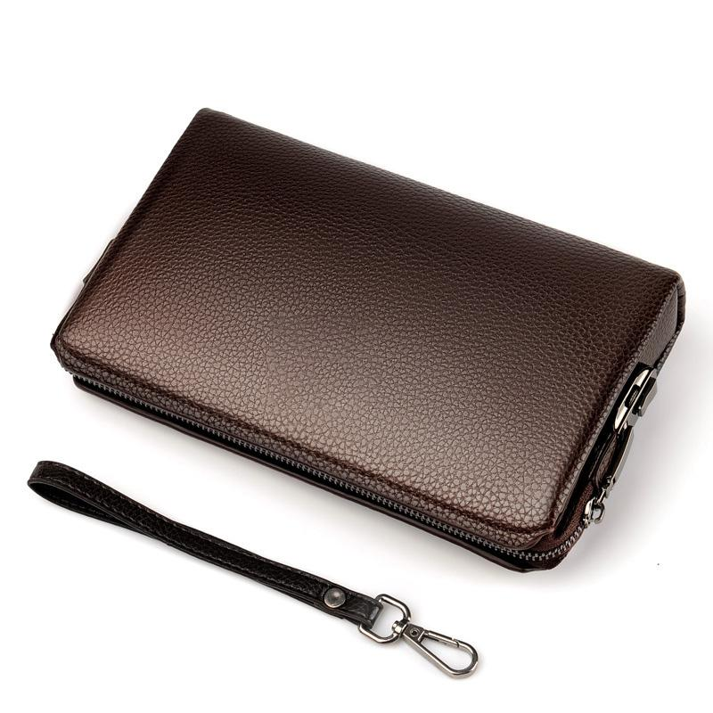 جديد جلد الرجال رمز المحفظة التجارية قفل حقيبة يد مشبك سحاب قدرة كبيرة الشخص الناجح حقيبة حزام المعصم