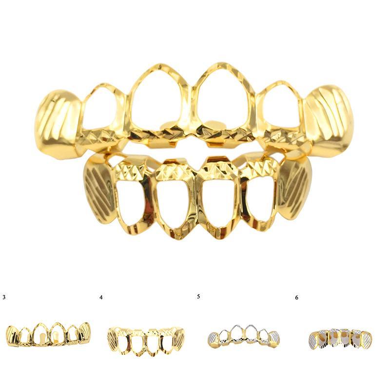 Dentes da cor do ouro Caso banhado Superior Inferior dentes da tampa oca Suspensórios único dente Cap Caps Rocha Grills Tooth Cap