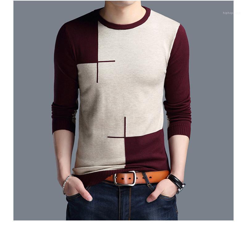 Рукав мужских свитера Повседневной одежды Самцов панелей Дизайнер Crew Neck Свитер Мода Пуловер Контрастность Цвет Длинная