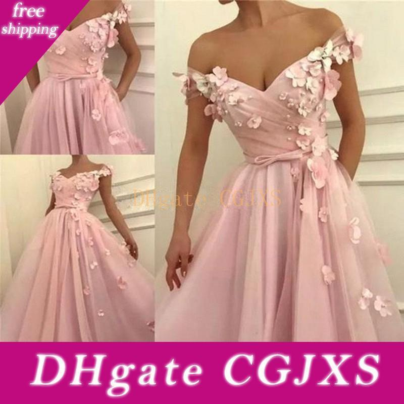 2020 Elegante Schulterfrei rosa Abendkleider mit 3D-Blumen Applikationen Vorder Split Prom-Partei-Kleid Bc0908