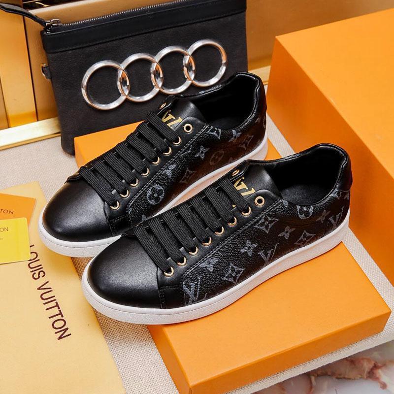2019a famoso lusso Stampa logo cuoio genuino Lace Up Men scarpe di alta qualità Scarpe da uomo scatola originale Mens Casual Shoes di EUR 38-44