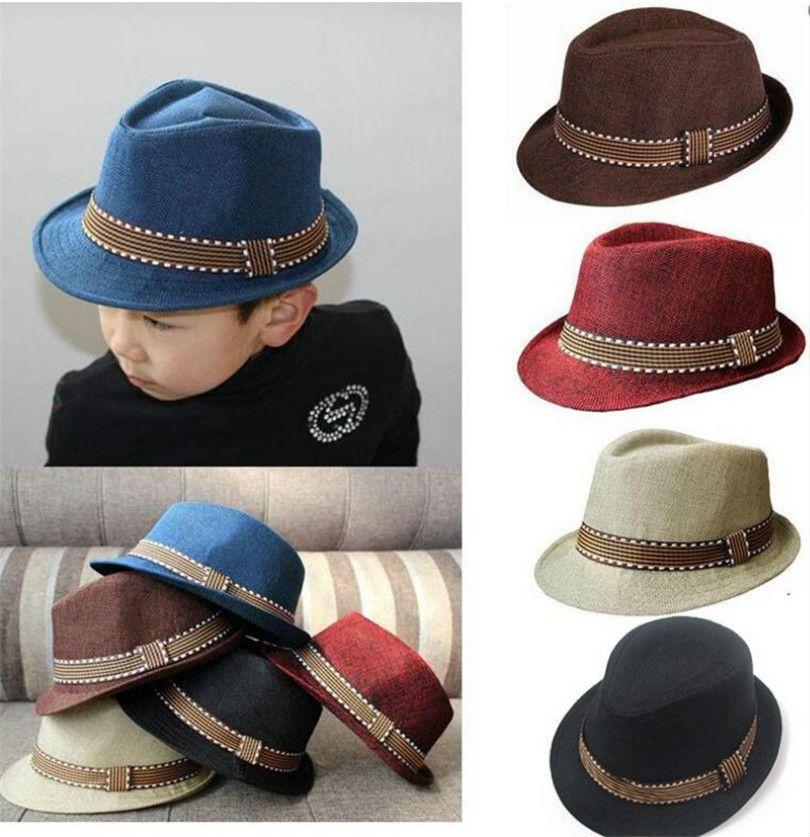 2020 nueva moda niños chica chico neutra Fedora contraste sombrero de poda sombrero fresco del jazz del sombrero del sombrero flexible M057