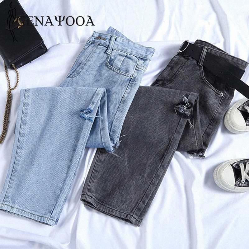 Genayooa Streetwear Boyfriend Jeans para mulheres Denim Jeans solto cintura alta Plus Size Mulheres Calças e rasgou-coreano 9ORh #