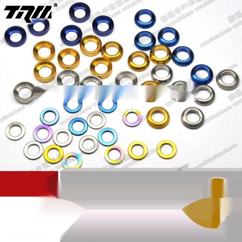 HEwW9 alloy M5/M6 mountain bike road screw nut washer Bicycle washerwasher washerTC4 color titanium flat gasket titanium cushion