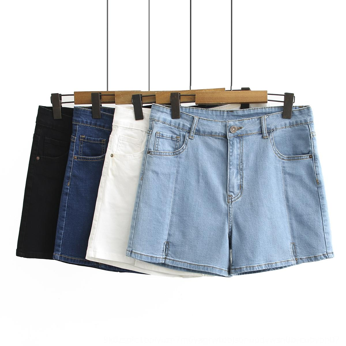 vqZ1i tamanho grande Shorts verão das mulheres hot pants calções de cintura alta wide forma de uma perna calças quentes gordura mm solto emagrecimento denim novos 28209