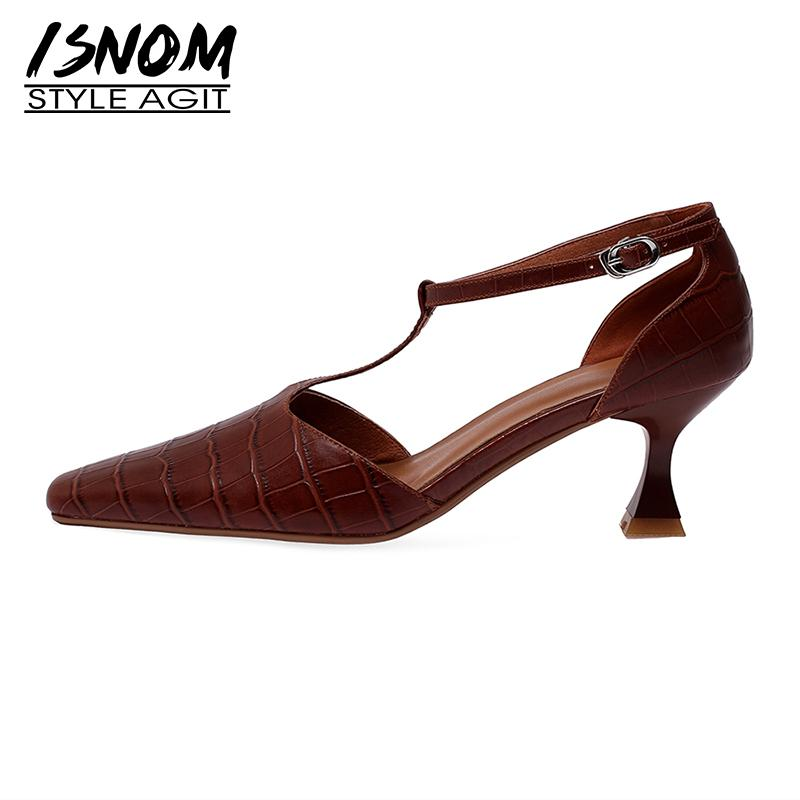 Mujer Piel ISNOM reales sandalias extraño de los altos talones del dedo del pie zapatos de vestir Mujer T Correa Square sandalias de las señoras de la vendimia