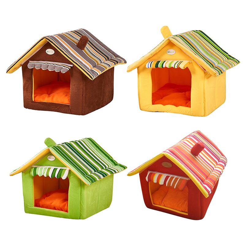 Washable Indoor Pet Bed Dog Cat Tent House Kennels For Small Dog Soft Sponge Puppy Bed Teddy House