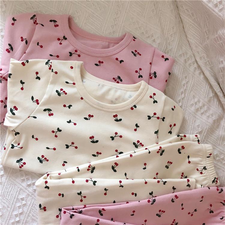 Herbst-Winter-New Babys aus reiner Baumwolle Kirsche gedruckt Unterwäsche-Sets O Ansatz Cartoon Mädchen Long Johns Pyjamas Set für Kinder X0923