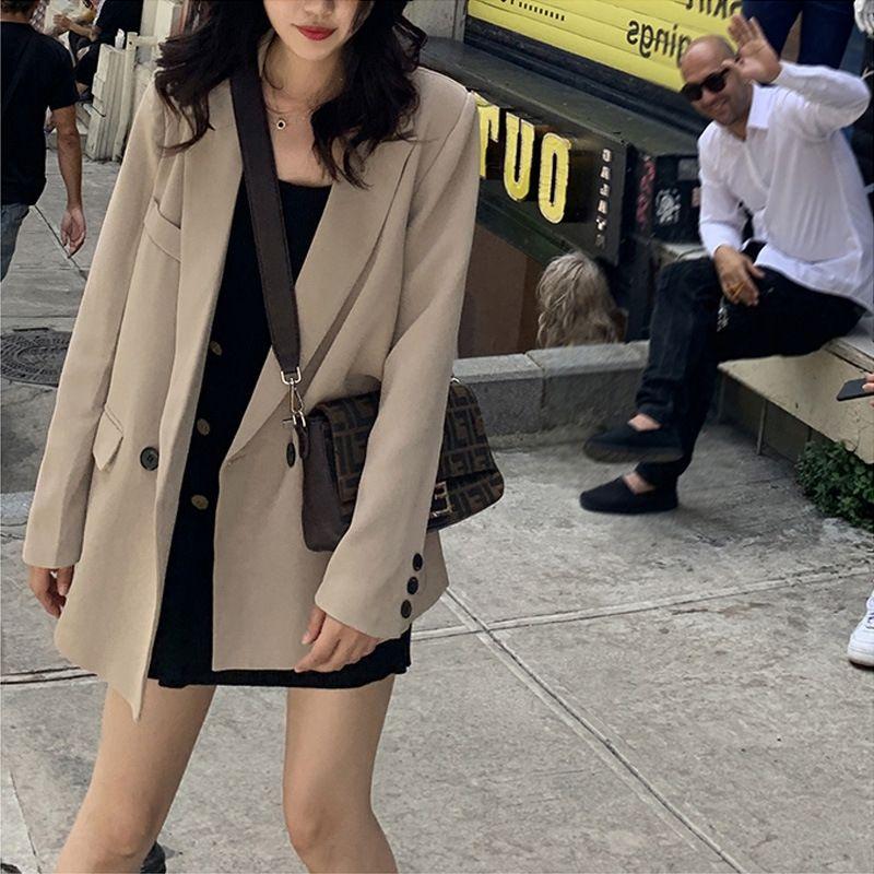 нс TBuZB Женской 2019 новой интернет одежда осень знаменитость корейский стиль потерять I элегантного случайных пальто пальто костюм костюм