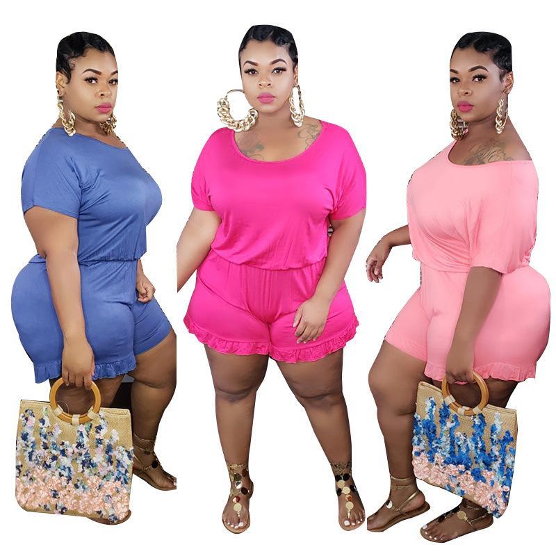 Artı Boyut Kadın Tulumlar Laciness Mürettebat Yaka Kısa Kollu Katı Renk tulum Dişi Tasarımcı Jumpsuit
