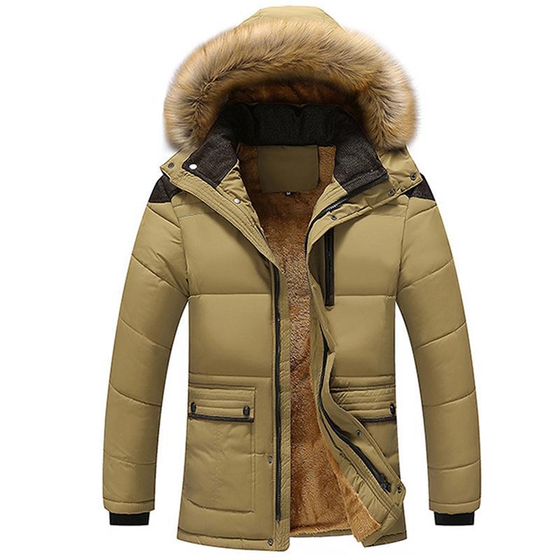 Kış Windproof Parkas Erkekler Katı Parkas Pamuk yastıklı Erkekler Casual Ceketler Kalınlaşmak Coats Palto Sıcak Giyim Artı boyutu 5XL