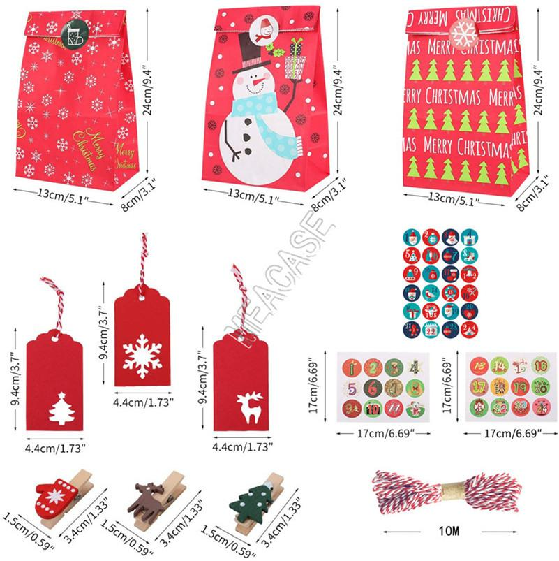 할로윈 크리스마스 크래프트 종이 선물 가방 세트 클램프 + 스티커 + 문자열 + 끊기 태그 + 보관 가방 정장 디자이너 패션 파우치 버기 가방 D91708